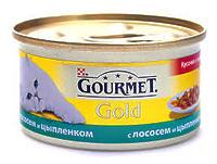 Gourmet Gold - кусочки в подливке с курицей и лососем, 85г