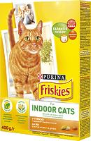 Friskies - Корм Фрискас Индор с курицей и овощами, добавками садовой травы