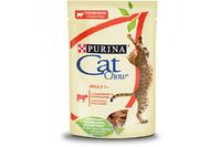 Cat Chow  (Пурина Кэт Чау). С говядиной и баклажанами. Нежные кусочки в желе. Консервированный порционный полнорационный корм для взрослых кошек. 85г