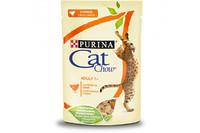 Cat Chow  (Пурина Кэт Чау). С курицей и кабачками. Нежные кусочки в желе. Консервированный порционный полнорационный корм для взрослых кошек. 85г