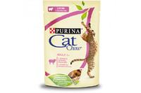Cat Chow  (Пурина Кэт Чау). С ягненком и зеленой фасолью. Нежные кусочки в желе. Консервированный порционный полнорационный корм для взрослых кошек. 85г