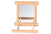 Зеркало с деревянной рамкой и жёрдочкой TRIXIE, 9 х 9 см