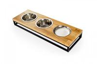Три миски на подставке Lunch Bar Natural wood + Black, S