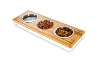 Три миски на подставке Lunch Bar Natural wood + White, S