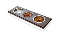 Три миски на подставке Lunch Bar Brown wood + White, S