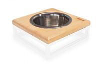 Одна миска на подставке  Natural wood + White, S