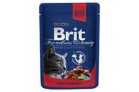 Влажный корм Brit Premium Рагу из говядины с горошком для взрослых кошек