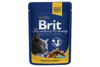 Влажный корм Brit Premium Курица и индейка для взрослых кошек