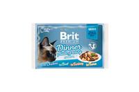 Влажный корм Brit Premium Набор паучей для кошек Dinner Plate Gravy Кусочки в соусе 4x85 г
