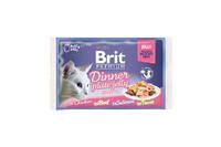 Влажный корм Brit Premium Набор паучей для кошек Dinner Plate Jelly Кусочки в желе 4x85 г