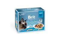Влажный корм Brit Premium Набор паучей для кошек Family Plate Gravy Кусочки в соусе 12x85 г